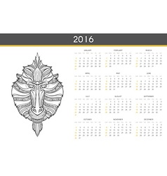 Modern calendar 2016 with monkey in english ready vector