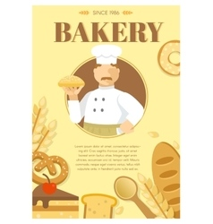 Baker and flour products poster vector