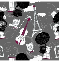 Seamless pattern with paris and gramophones vector