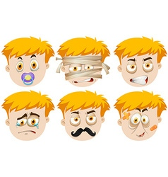 Man faces with different emotions vector