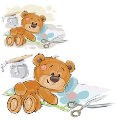 a brown teddy bear glues a vector image vector image