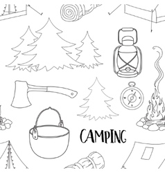 Camping pattern with equipment symbols vector