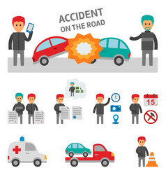 Car crash and accident on the road infographic vector