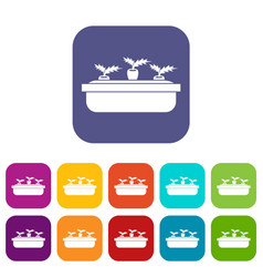 carrots in a wooden pot icons set vector image