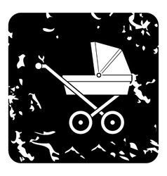 Children stroller icon grunge style vector