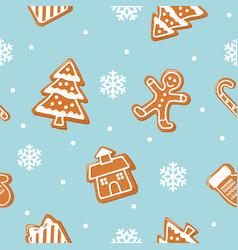 Christmas cookies seamless pattern gingerbread vector