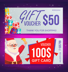 christmas voucher template horizontal card vector image vector image