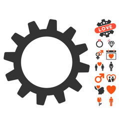 Cogwheel icon with valentine bonus vector