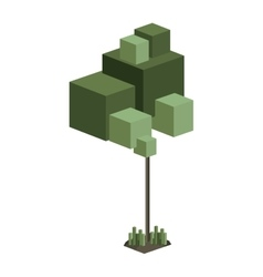 Colorful green tree pixel design vector