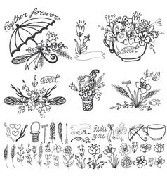 Doodle floral grouphand sketched element kit vector image vector image