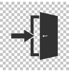Door exit sign dark gray icon on transparent vector