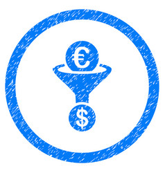 Euro dollar conversion funnel rounded icon rubber vector
