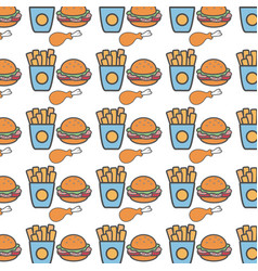 Fastfood fries french hamburger and chicken thigh vector