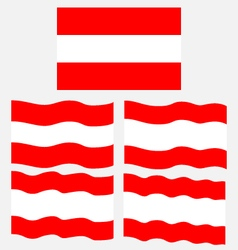 Flat and waving flag of austria vector