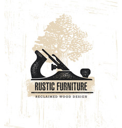 Hand plane custom rustic furniture wood works vector