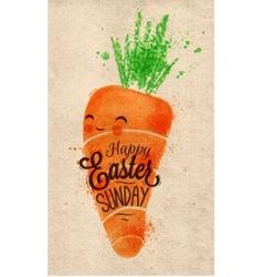 Happy easter carrot poster kraft vector