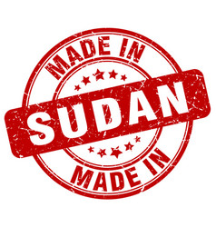 Made in sudan red grunge round stamp vector