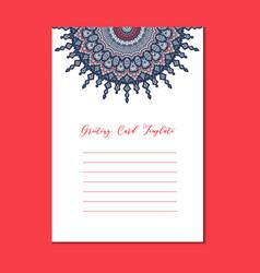 mandala vintage template card vector image