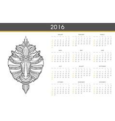 Modern calendar 2016 with monkey in english ready vector