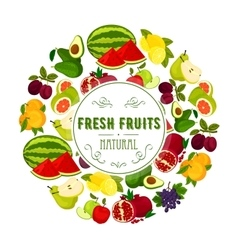 Natural fresh fruits round label design vector