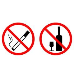 no smoke no alcohol vector image