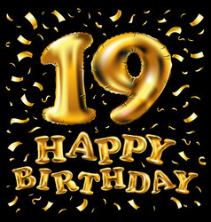 number 19 gold celebration candle and gift box vector image