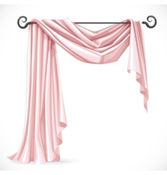 Pink asymmetric curtains on the ledge forged vector