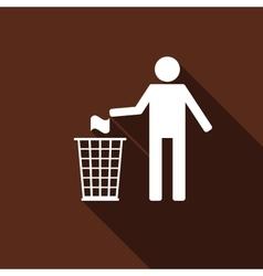 Recycle icon man throwing trash into dustbin icon vector