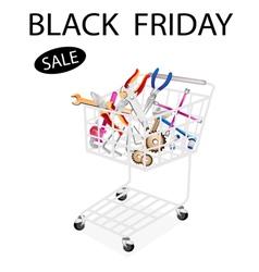 Repair tool kits in black friday shopping cart vector