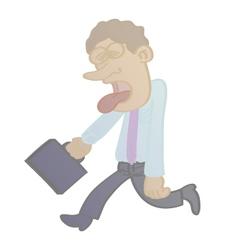 Salesman tired cartoon vector
