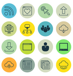 Set of 16 internet icons includes account vector