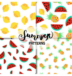 set of summer patterns vector image