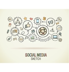 Social media hand draw integrate icons set on vector image vector image