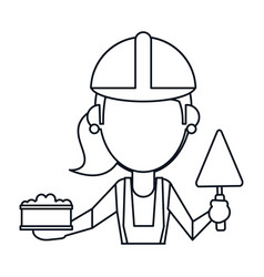 Woman construction with brick and spatula thin vector
