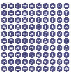 100 horsemanship icons hexagon purple vector