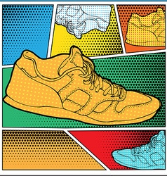 Sneakers in pop-art style vector
