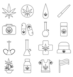 Marijuana icons set outline style vector