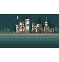 Flat design night urban landscape vector
