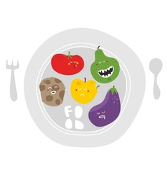 Crazy fruits and vegetables on the plate vector