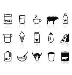 Milk product icons set vector