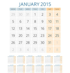 Calendar 2015 12 months design template vector