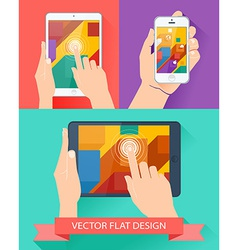Male hands holding smartphone and tablet flat vector