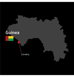 Detailed map of guinea and capital city conakry vector