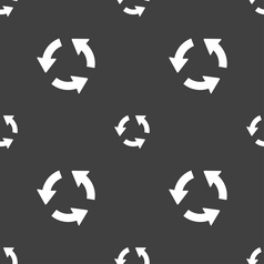 Refresh icon sign seamless pattern on a gray vector