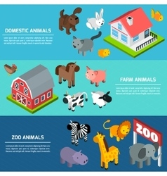 Isometric animals banners vector