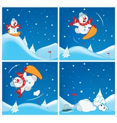 Adventures of snowman cartoons vector