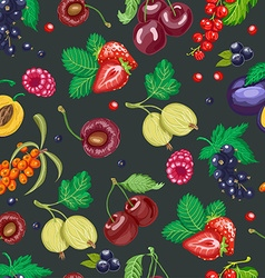 Summer seamless pattern with garden berries on a vector image
