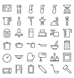 Set of web icons line food cooking vector image