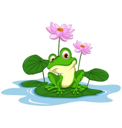 Funny green frog cartoon sitting on a leaf vector