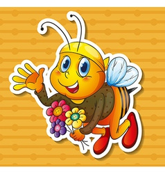 Bee and flowers vector image vector image